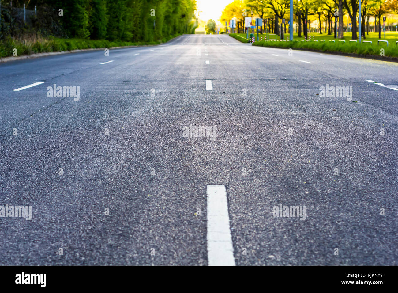 A four-lane road leading to the horizon, Stock Photo