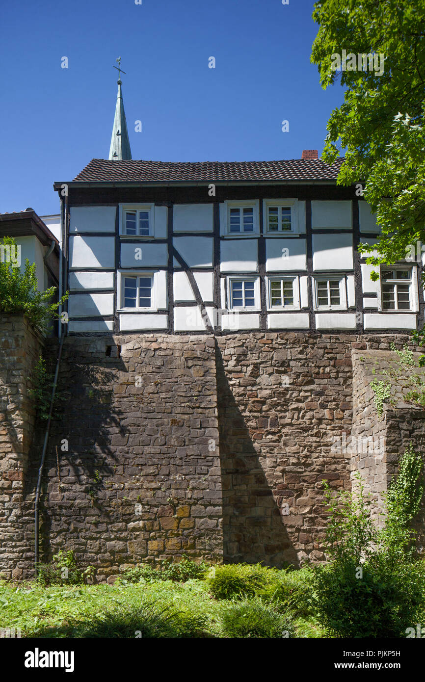 City wall, city fortifications with half-timbered house at Ullrichswall, Unna, Ruhr area, North Rhine-Westphalia, Germany, Europe - Stock Image