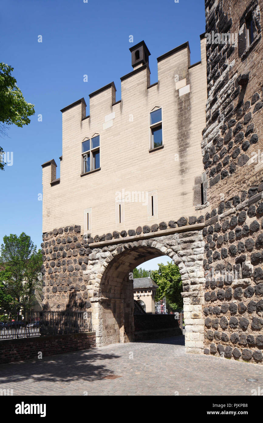 Bayenturm, medieval fortified tower, seat of the charitable foundation 'FrauenMediaTurm', Cologne-Bayenthal, Rheinauhafen, Cologne, North Rhine-Westphalia, Germany, Europe - Stock Image