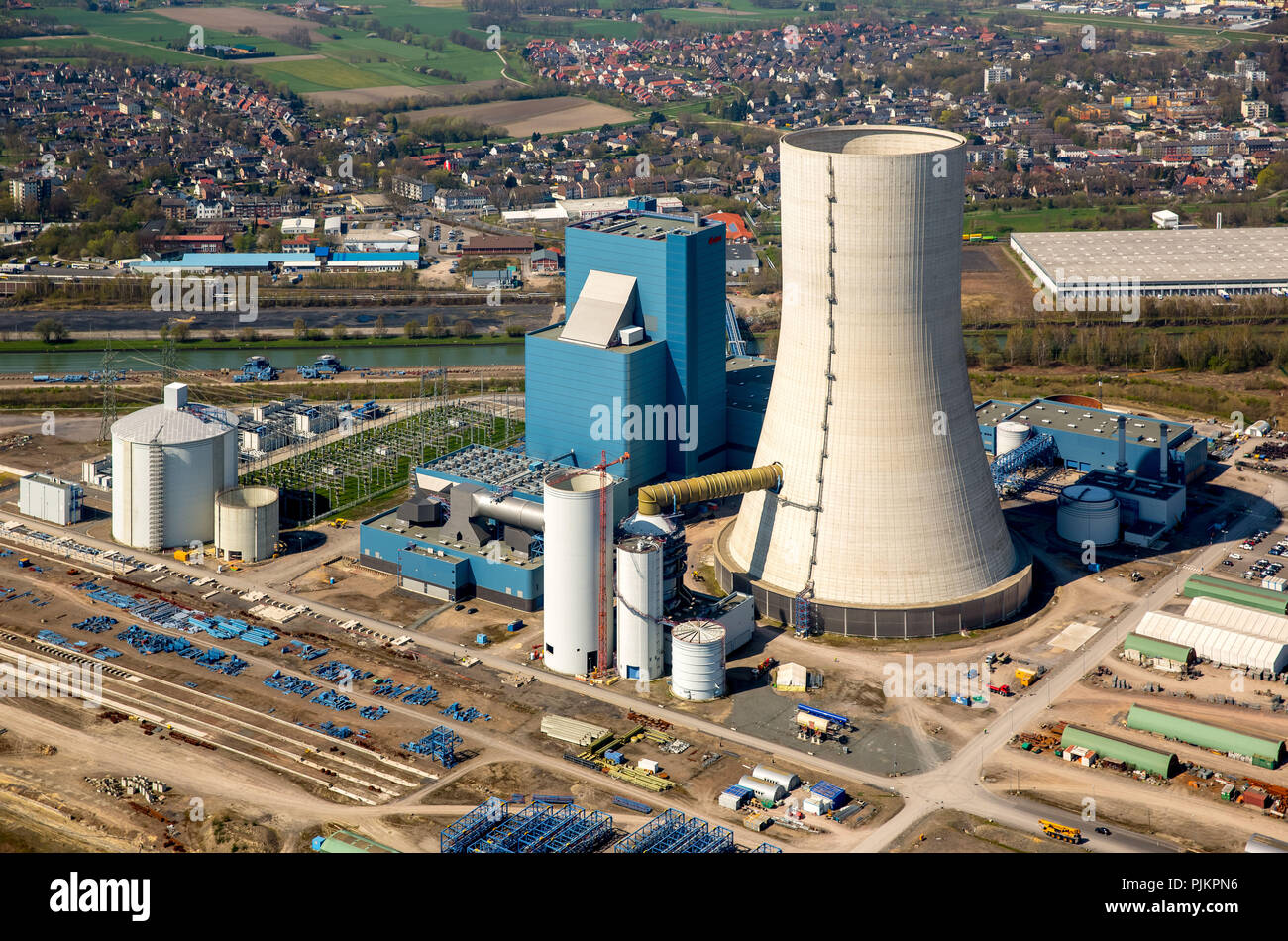 EON, E.on 4 Datteln, coal-fired power plant, fossil energy, construction freeze cooling tower, Datteln, Ruhr area, North Rhine-Westphalia, Germany - Stock Image