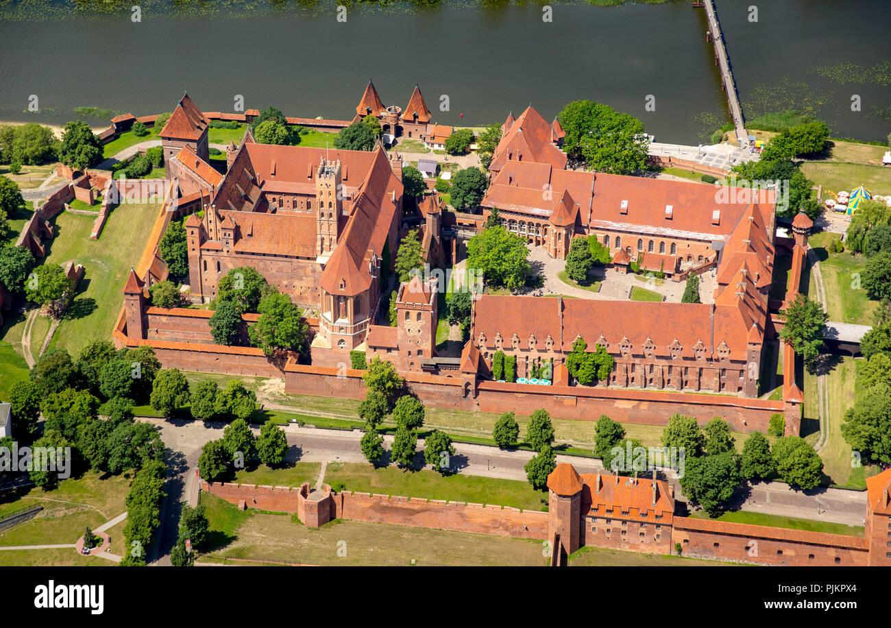 Malbork, castle, brick Gothic, river Nogat, city Marienburg, seat of the Grand Master of the Teutonic Order, Teutonic Order, pomorskie, Poland - Stock Image