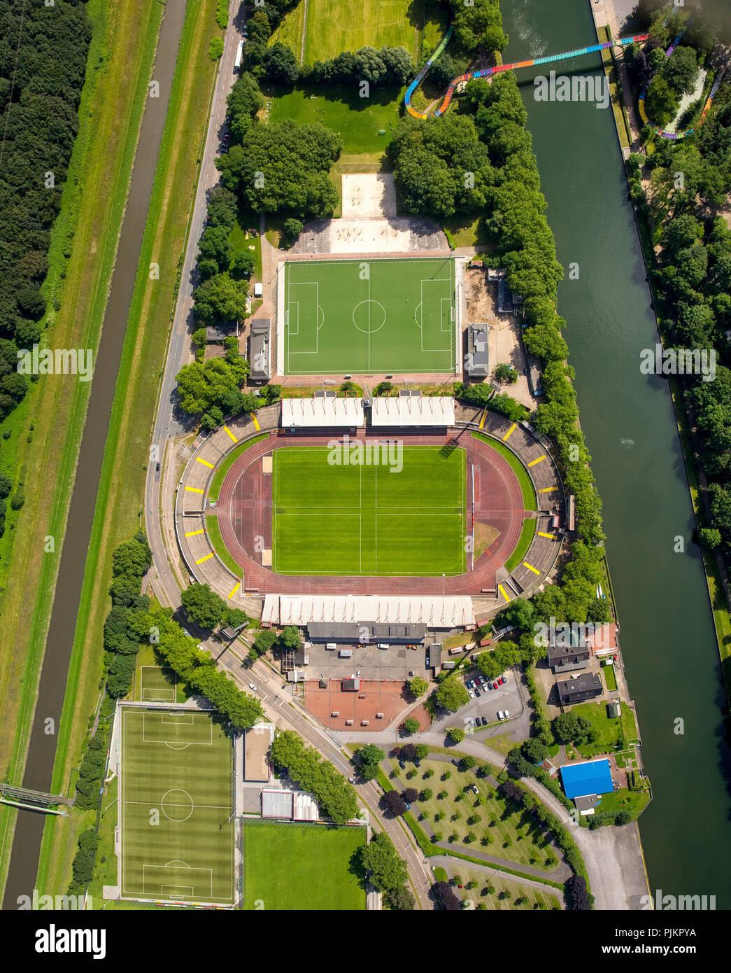 Stadium Niederrhein, SC Rot-Weiß Oberhausen eV, TC Sterkrade 1869 eV, Emscher Rhein-Herne-Canal, Oberhausen, Ruhr area, North Rhine-Westphalia, Germany - Stock Image