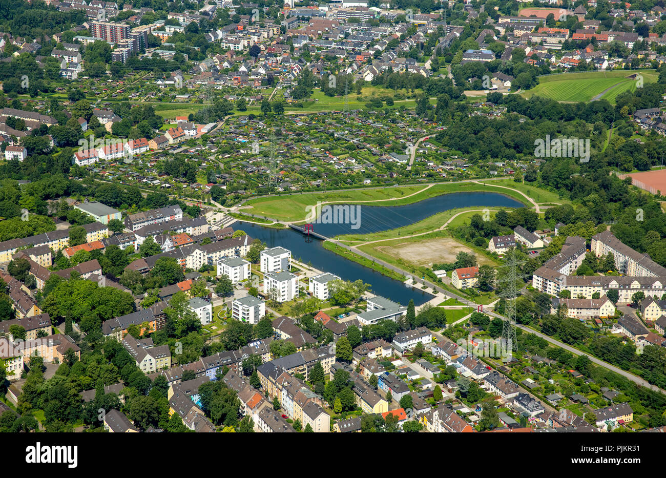 Niederfeldsee Altendorf, Essen, Ruhr area, North Rhine-Westphalia, Germany - Stock Image