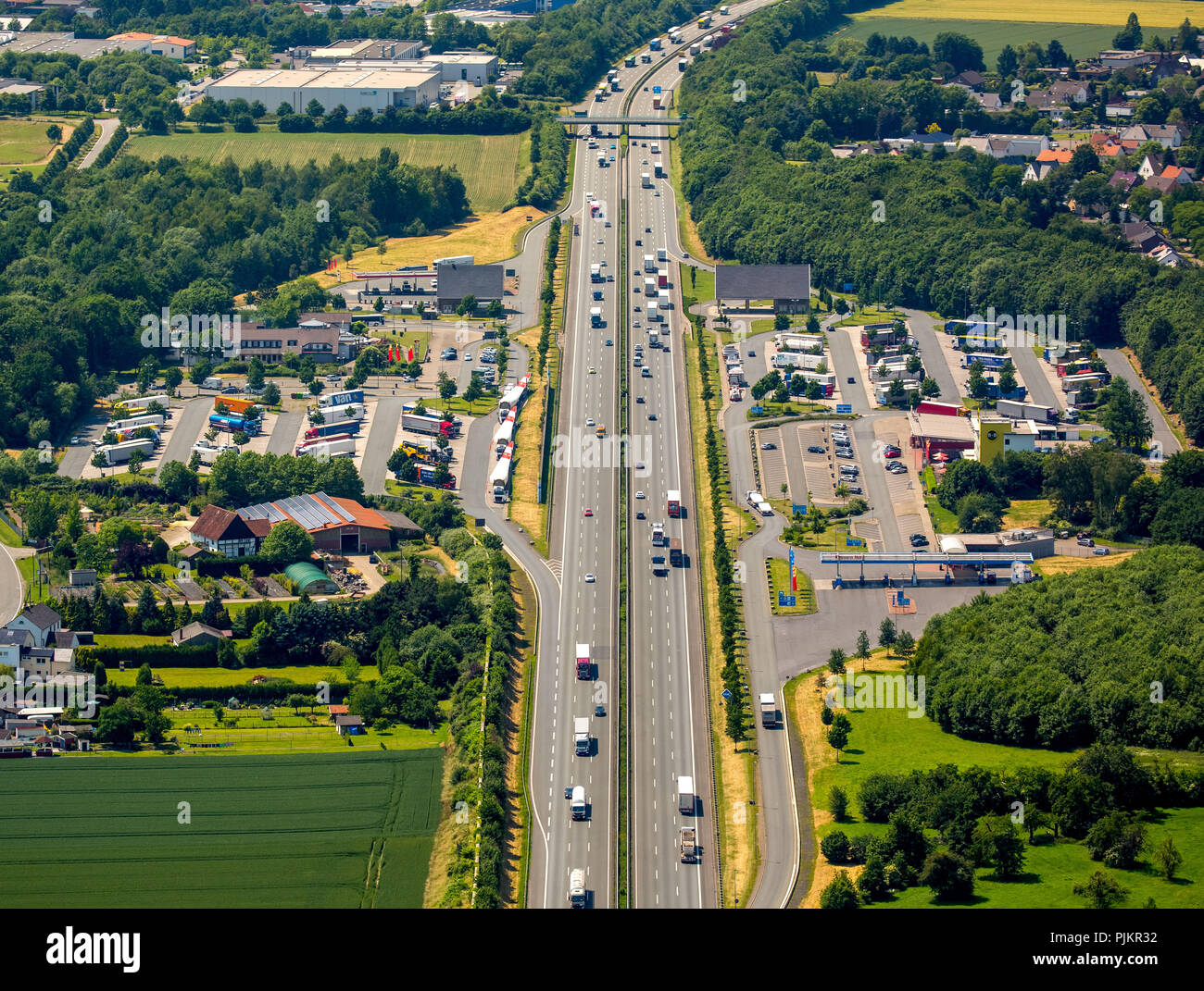 Motorway A2, motorway service area Rhynern, truck parking lots, breaks, driving times, Hamm, Ruhr area, North Rhine-Westphalia, Germany - Stock Image