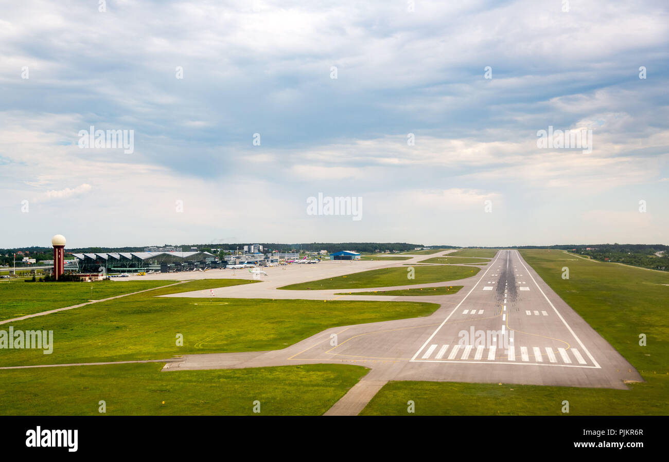 Approach to Gdansk International Airport, runway, Gdansk, Baltic Sea coast, pomorskie, Poland - Stock Image