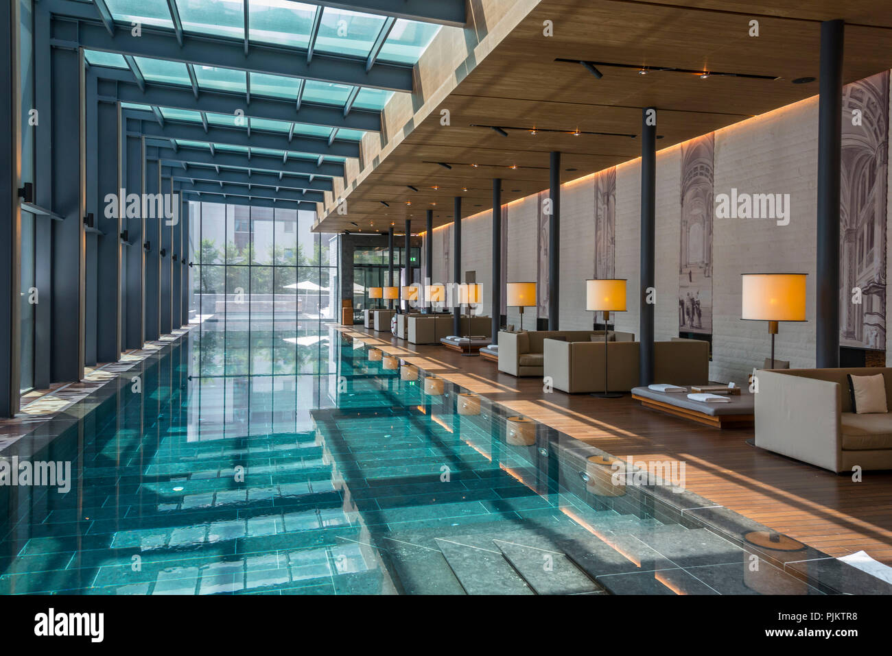 swimming pool at the five star deluxe hotel the chedi andermatt urserental canton of uri