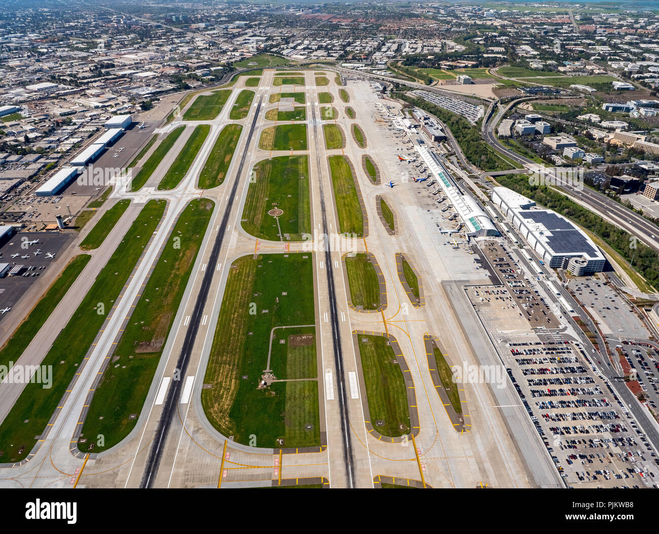 San Jose International Airport, Runways, San Jose, San Francisco Bay Area, United States of America, California, United States - Stock Image
