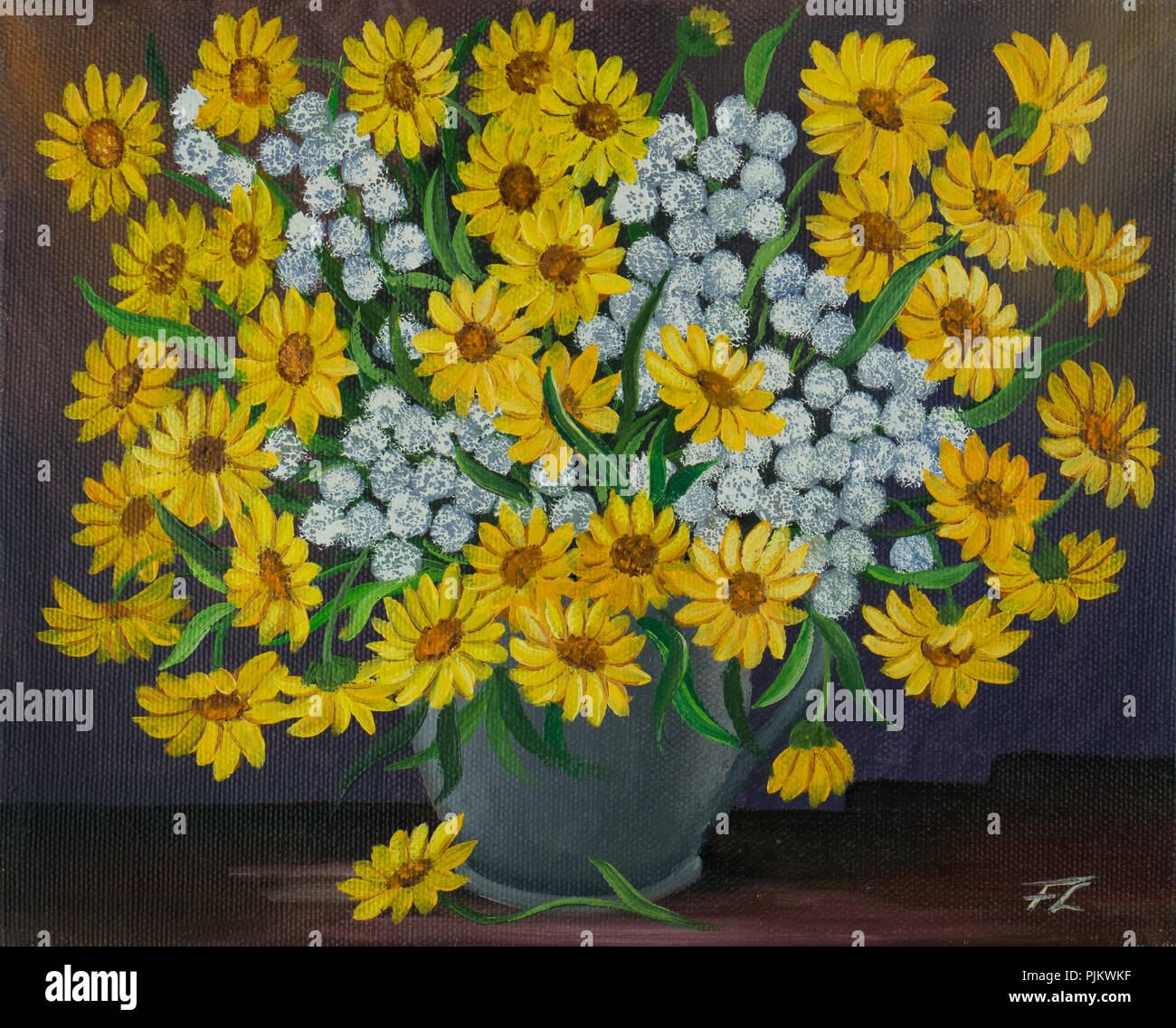 Oil Painting Of A Bouquet With Yellow And White Flowers In A Grey