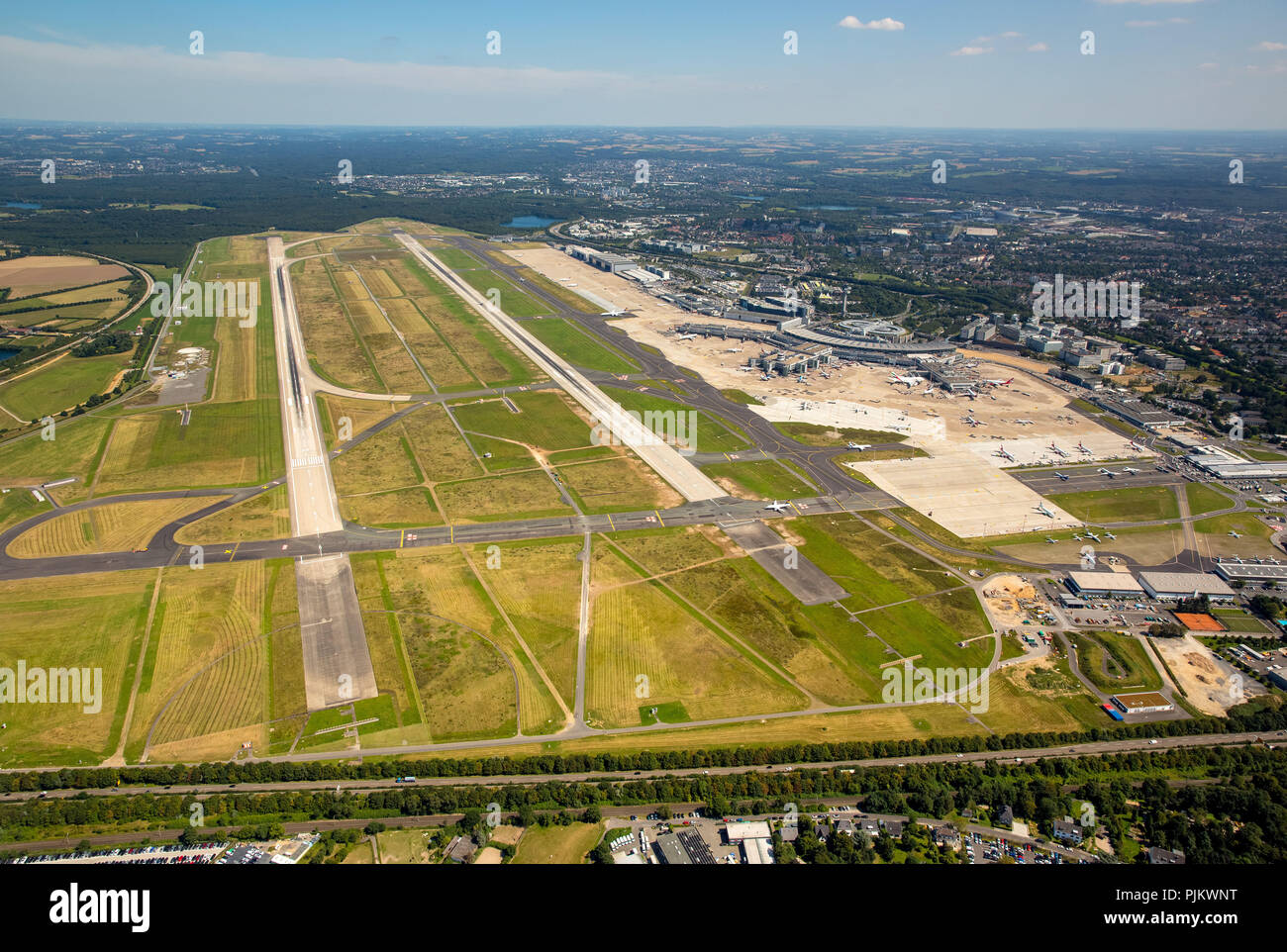 Overview on the runways 05L and 05R, Dusseldorf Airport, Dusseldorf-Lohausen Airport, Dusseldorf, Rhineland, North Rhine-Westphalia, Germany - Stock Image
