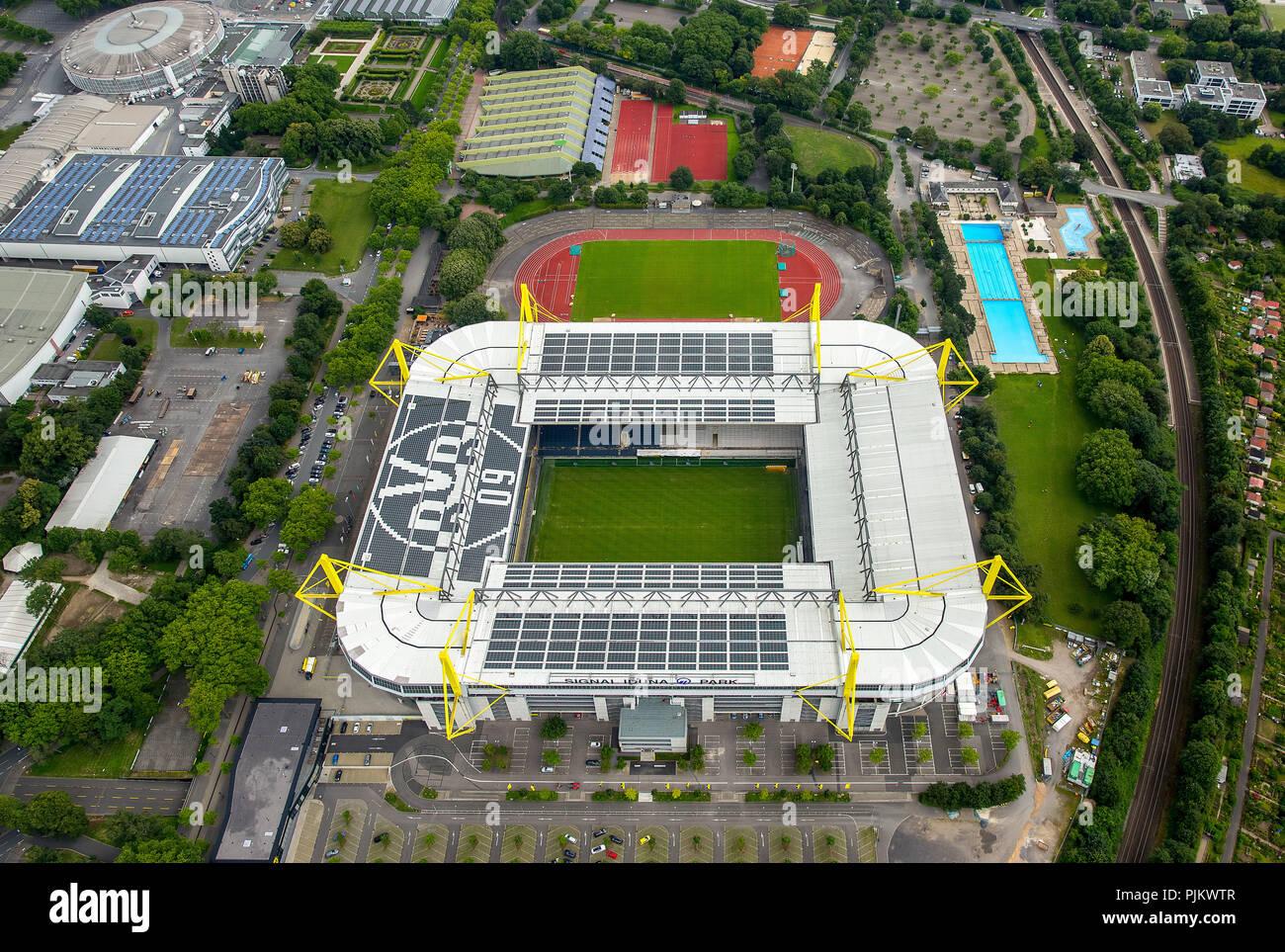 SignalIdunaPark, BVB Stadium Dortmund, football stadium, Bundesliga stadium, Dortmund, Ruhr area, North Rhine-Westphalia, Germany - Stock Image