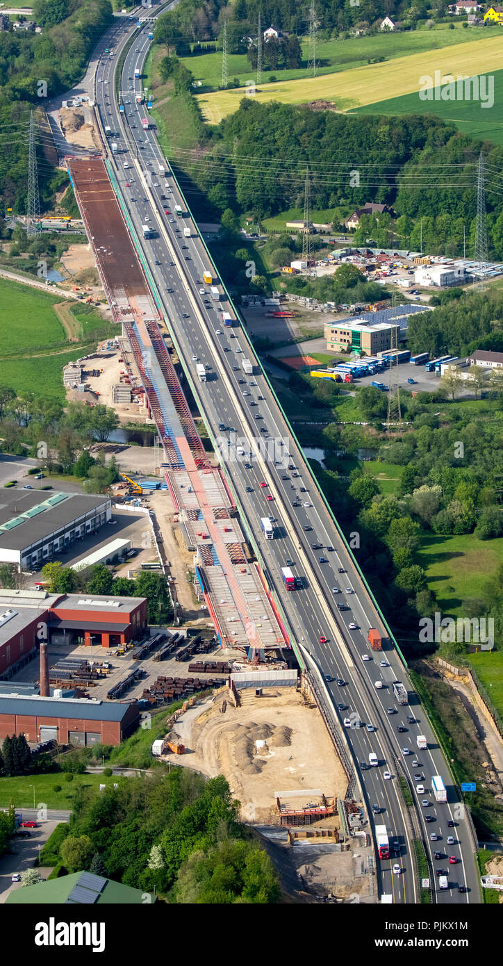 Bridge rehabilitation Sauerlandlinie A45, Lennetalbrücke, traffic infrastructure, construction work, Hagen, Ruhr area, North Rhine-Westphalia, Germany - Stock Image