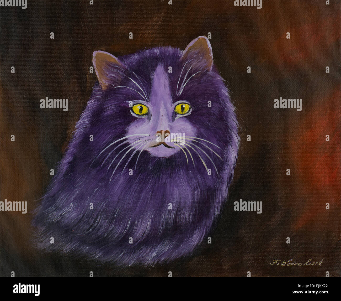Oil painting of a purple angora cat with yellow eyes and thick fur - Stock Image