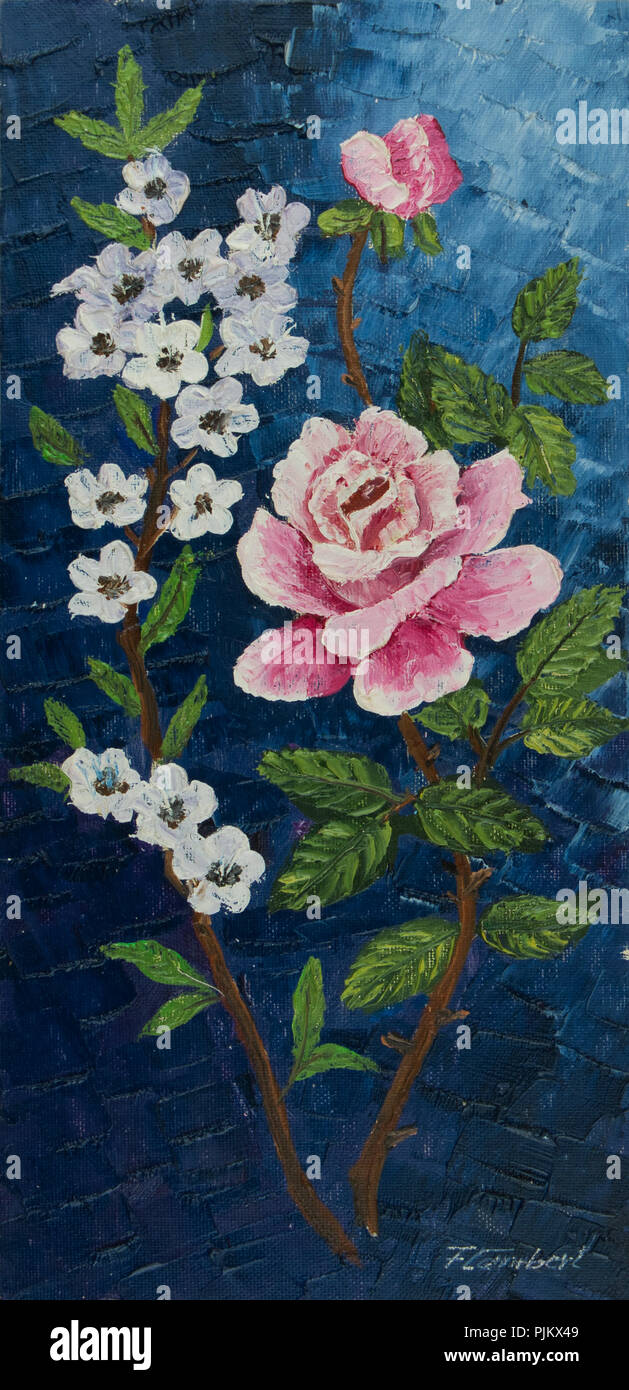 Oil painting - Branch with pink and white flowers on a blue background - Stock Image