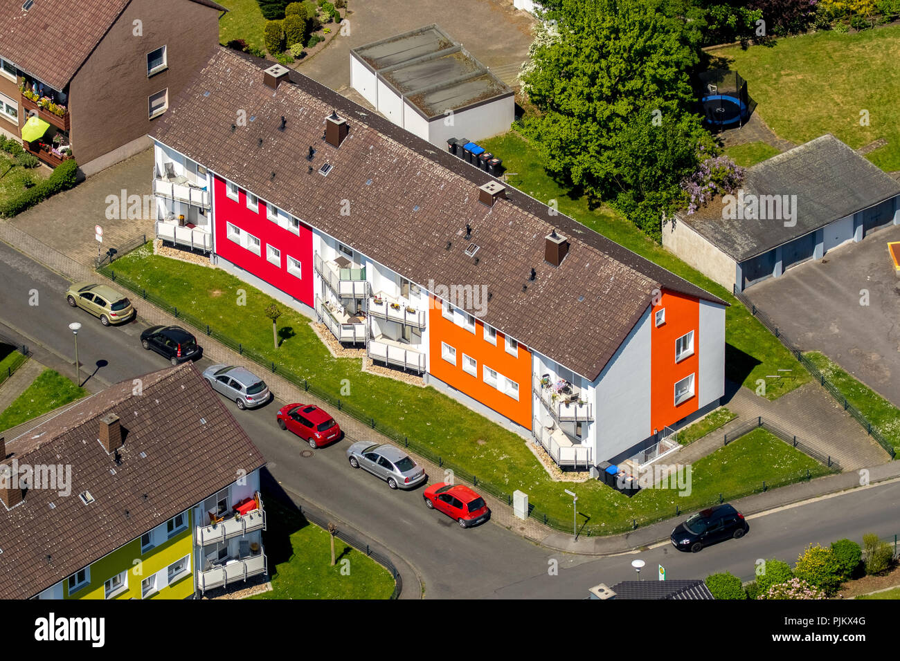 Tenement houses as participants in a facade competition, rented apartment, block of flats, Hamm, Ruhr area, North Rhine-Westphalia, Germany - Stock Image