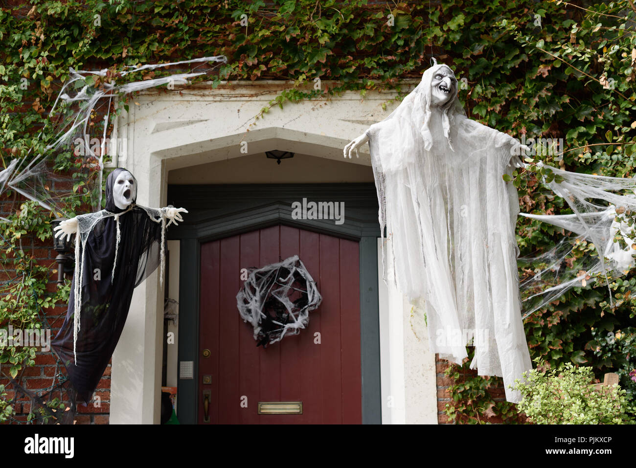 Halloween In Front Of House Decorations Stock Photo 218026054 Alamy