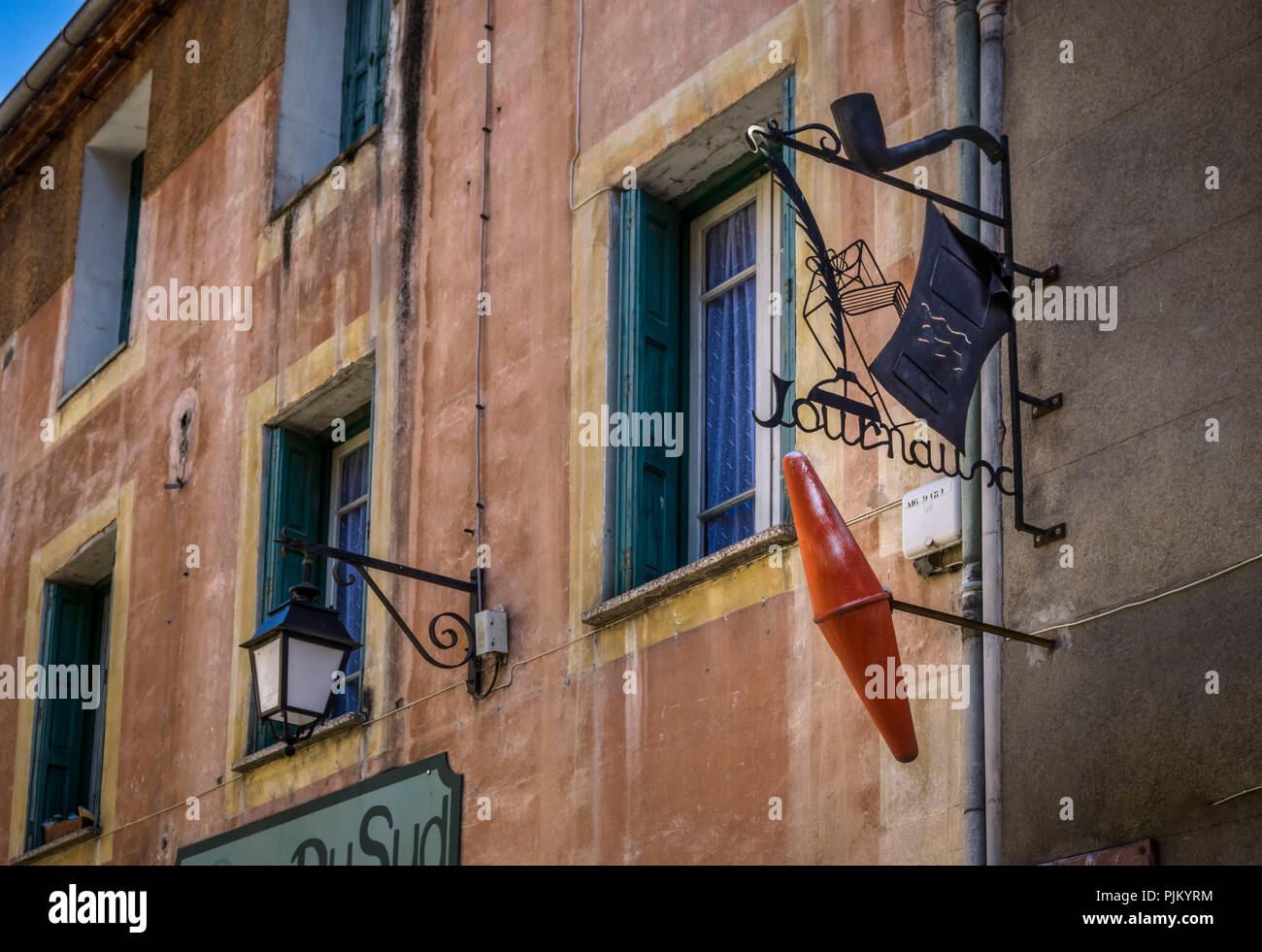 Advertising sign in Villefranche de Conflent, the fortified village is part of the UNESCO World Heritage, plus beaux villes de France, founded in the XI century, Stock Photo