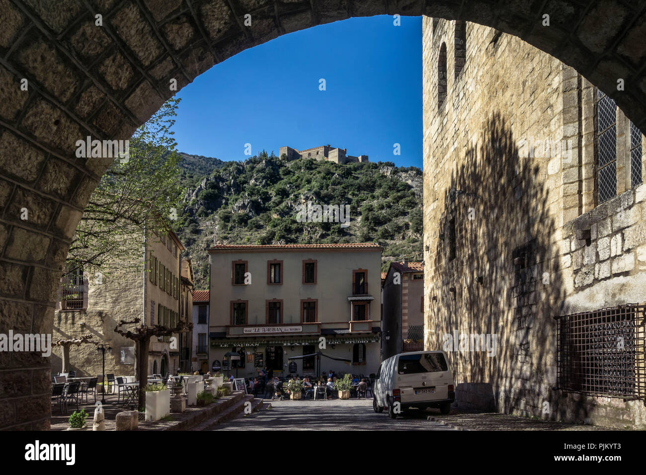 Founded in the XI century, entrance to Villefranche de Conflent view to Fort Libéria. The fortified village is part of the UNESCO World Heritage, Plus beaux villes de France, - Stock Image
