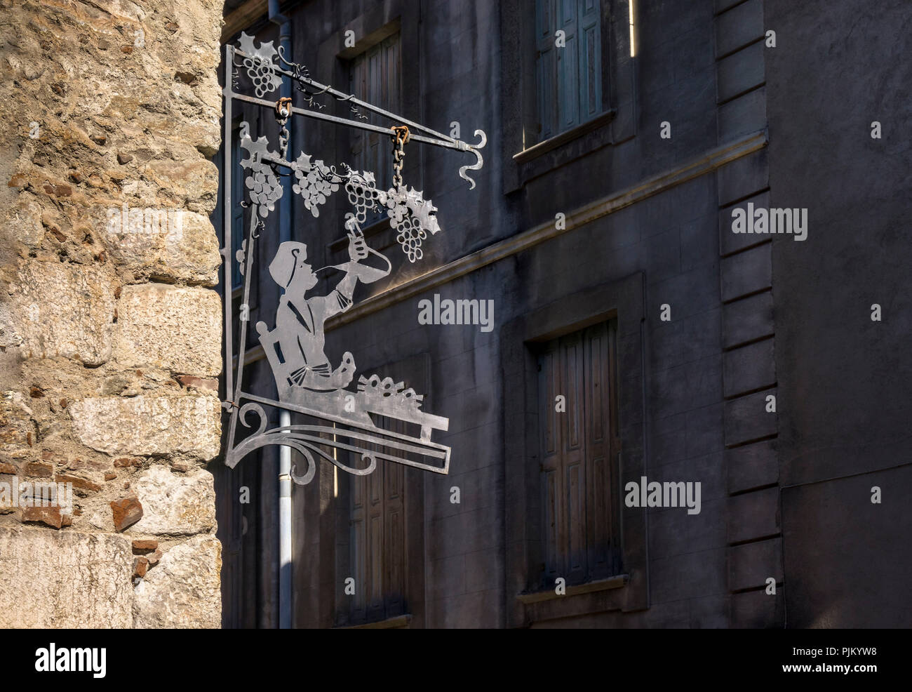 Advertising sign in Villefranche de Conflent, the fortified village is part of the UNESCO World Heritage, plus beaux villes de France, founded in the XI century, - Stock Image