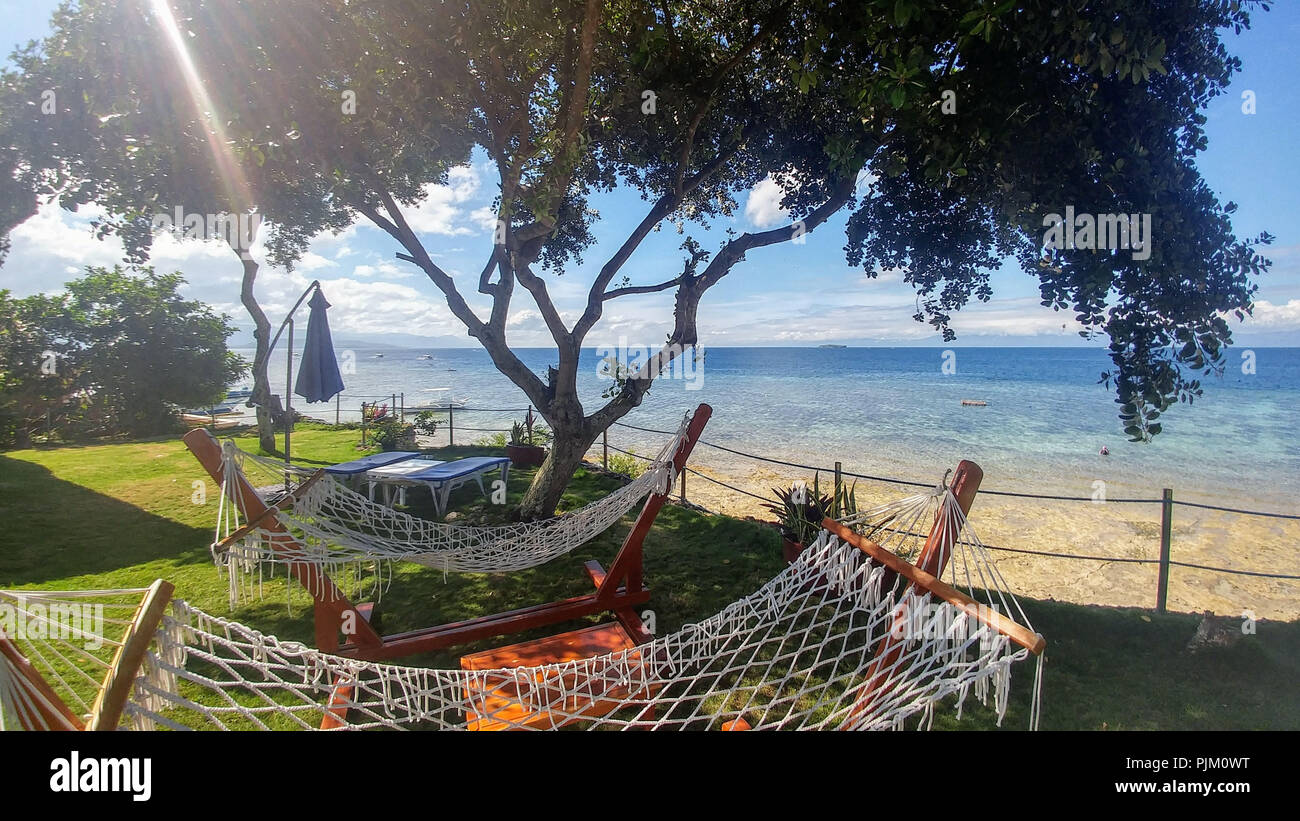 Hammocks under the tree by the sea, Cebu, Philippines - Stock Image