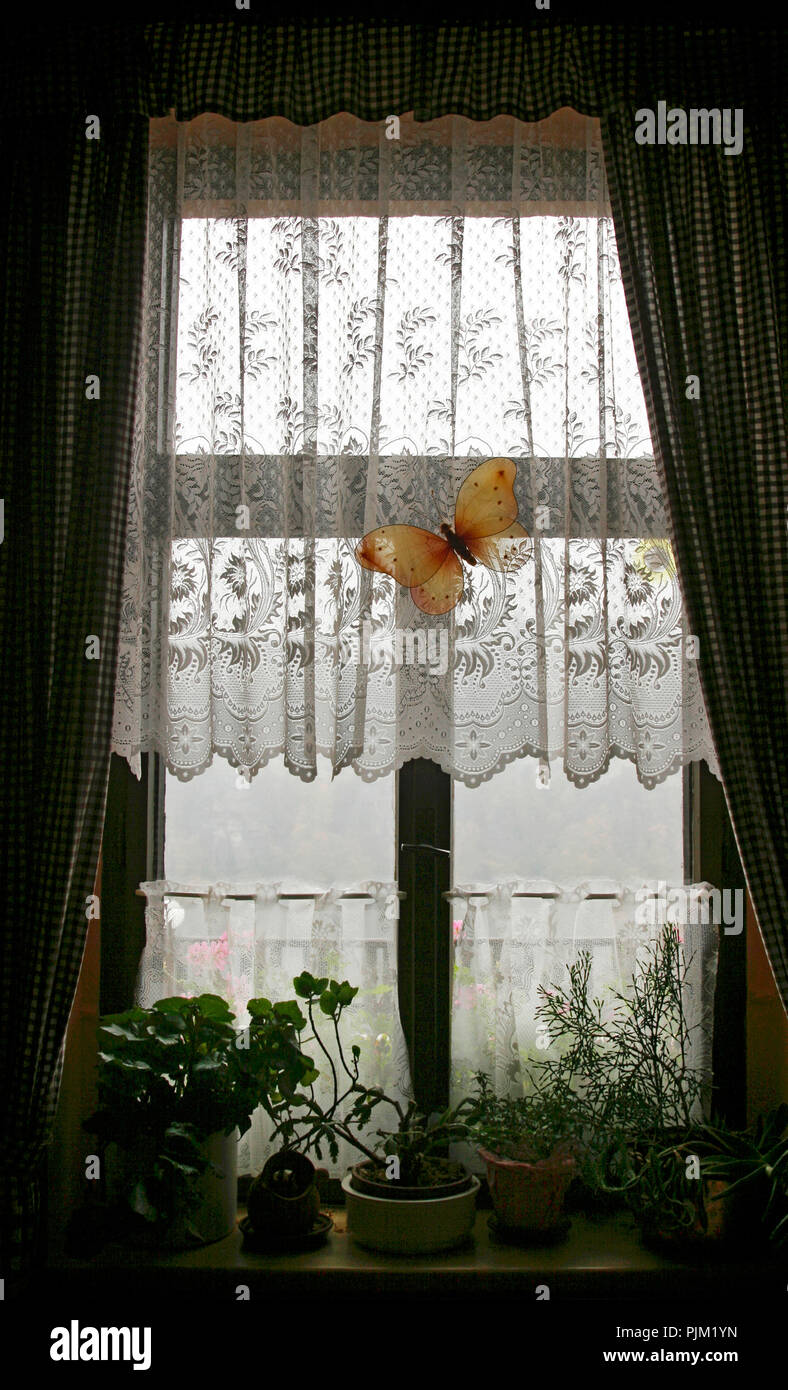 Window, curtain, decorative butterfly, windowsill - Stock Image