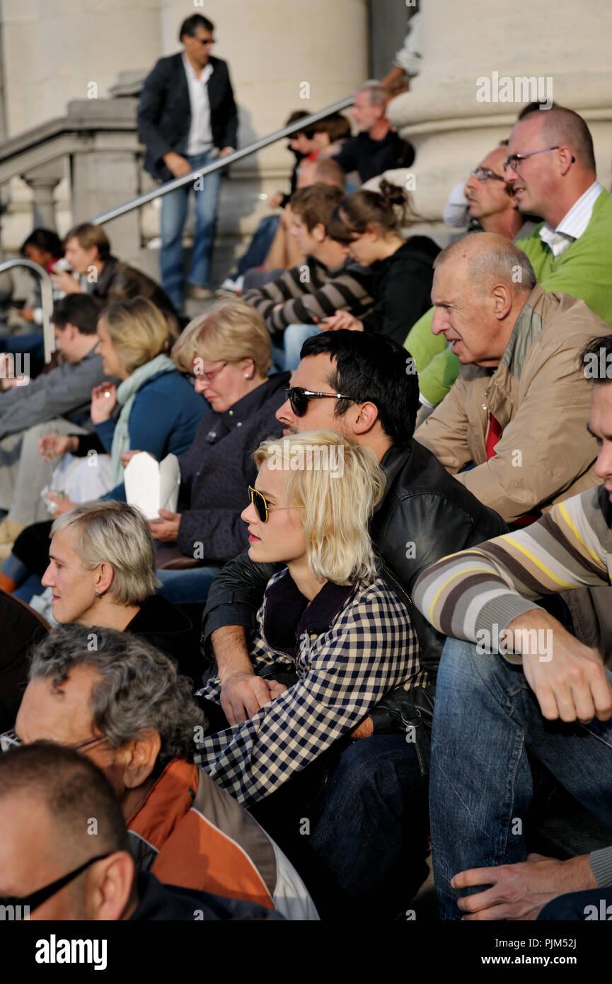 Singer Gabriel Rios and his girlfriend topmodel Delphine Bafort enjoying the Zuiderzinnen festival in Antwerp (Belgium, 21/09/2008) - Stock Image