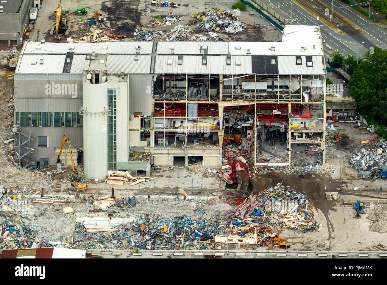 Demolition works at OPEL Plant 1, automotive, structural change, auto industry, Bochum, Ruhr area, North Rhine-Westphalia, Germany - Stock Image