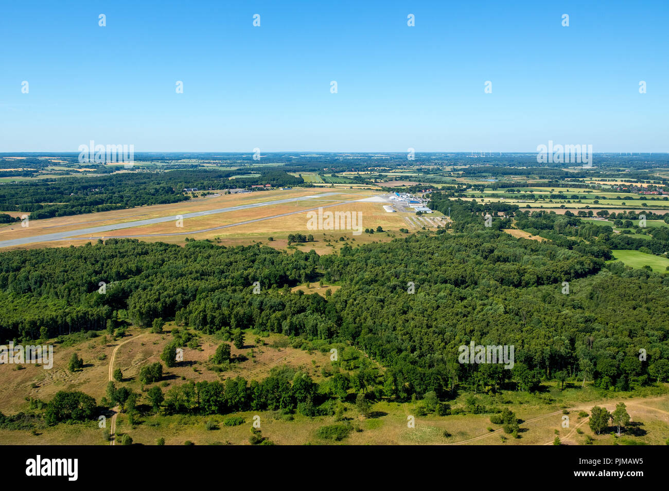 Airfield Lübeck seen from the right transverse approach to the runway 25, Groß Grönau, Bay of Lübeck, Hanseatic city, Schleswig-Holstein, Germany - Stock Image