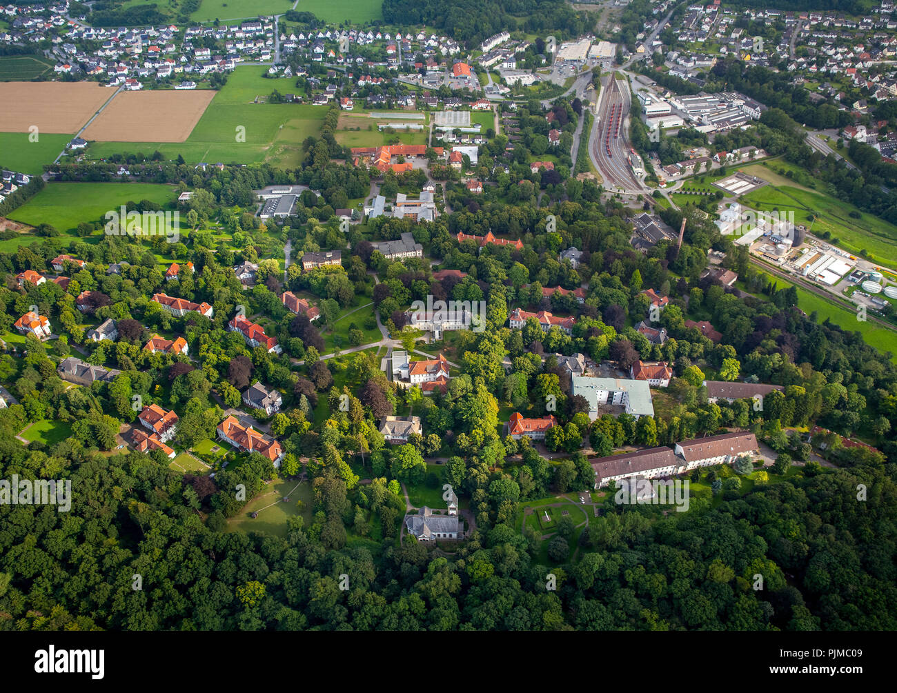 At the LWL Clinic Warstein, LWL Clinic Warstein for Psychiatry, Psychotherapy and Psychosomatics, Landschaftsverband Westfalen-Lippe, Warstein, district Soest, North Rhine-Westphalia, Germany - Stock Image