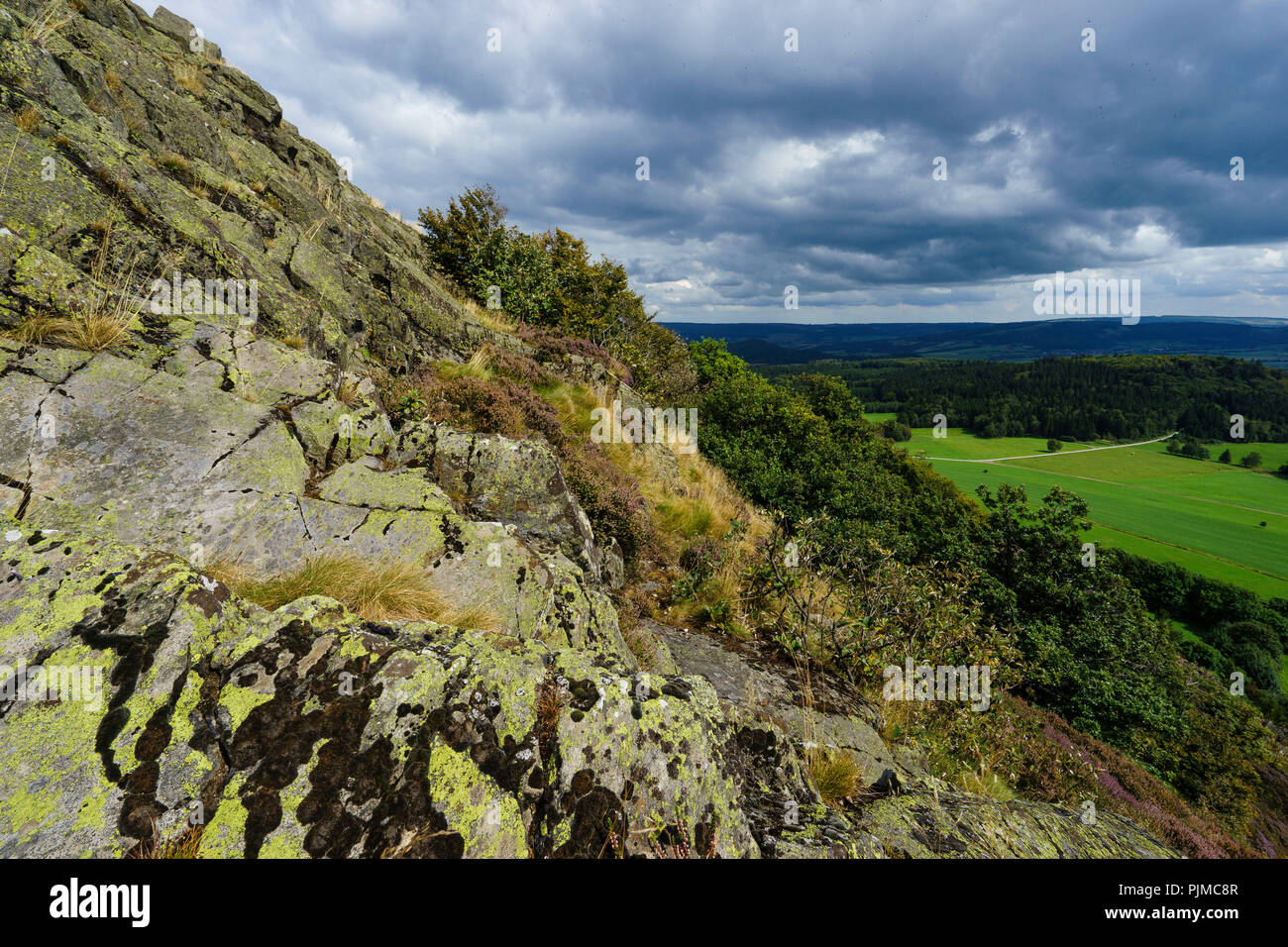 The Milseburg with its large stone run, the holy mountain in the biosphere reserve Rhön, Hesse, Germany - Stock Image