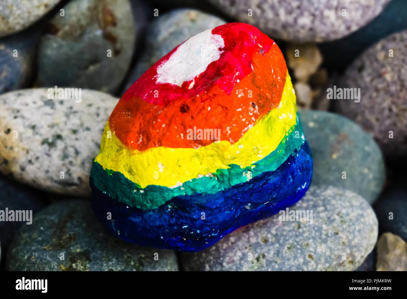 Stone painting - Rainbow Colors - Stock Image