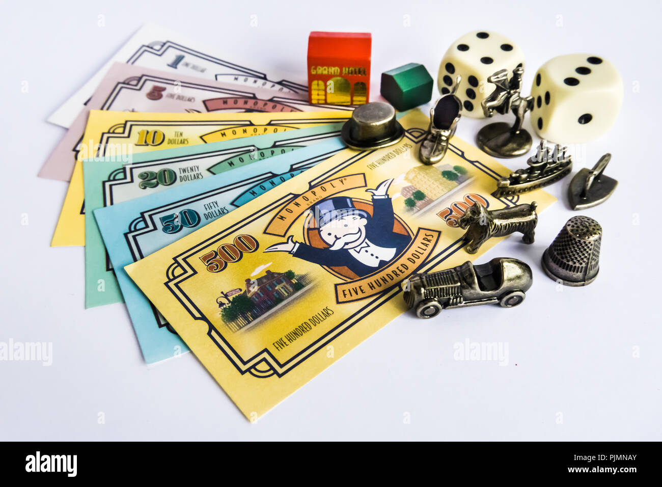 Monopoly Property Trading board game from Parker Brothers. The classic real estate trading game from Parker Brothers. Stock Photo