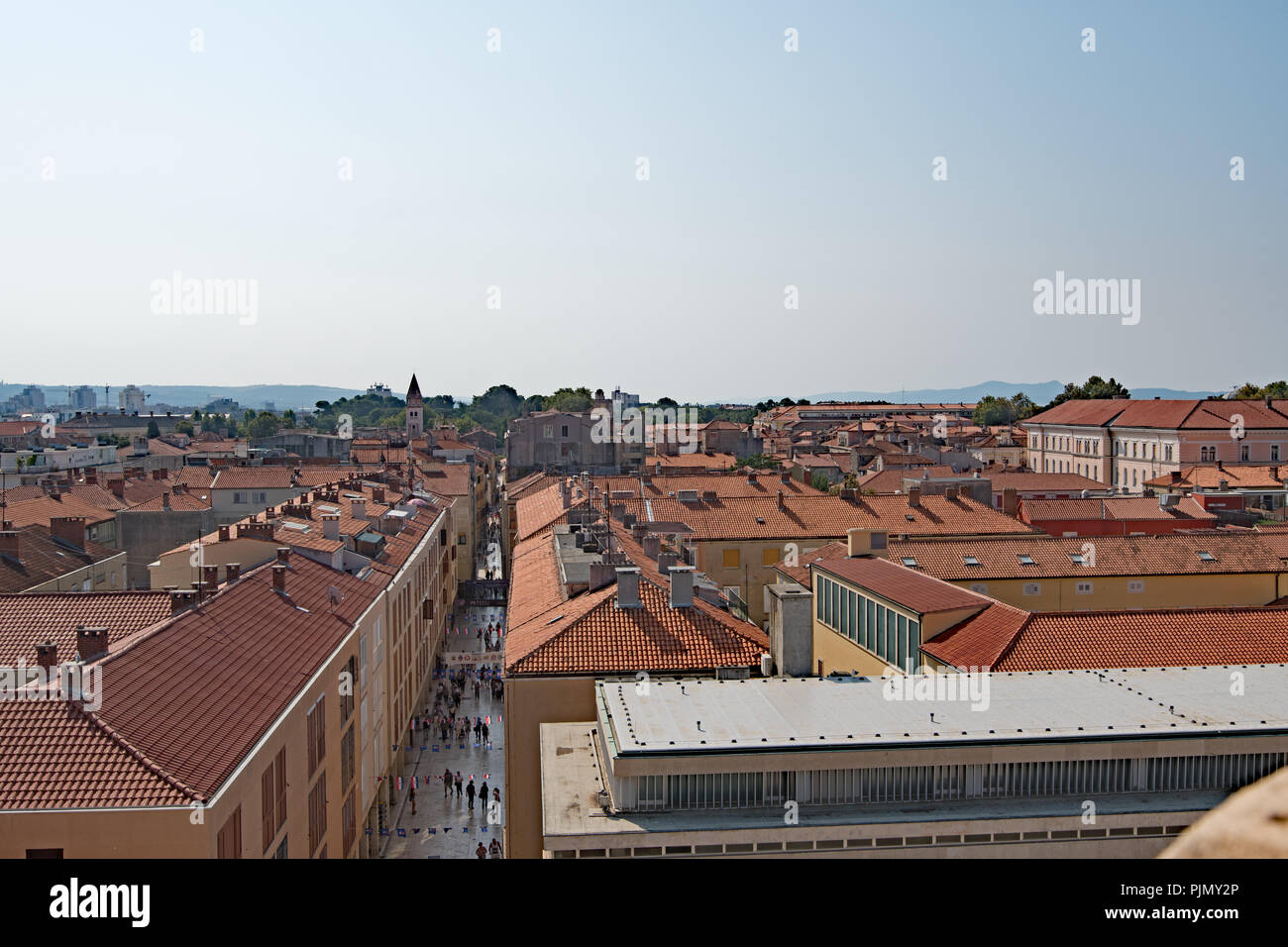View of Zadar Old Town rooftops from the Cathedral Bell Tower, Zadar, Croatia - Stock Image
