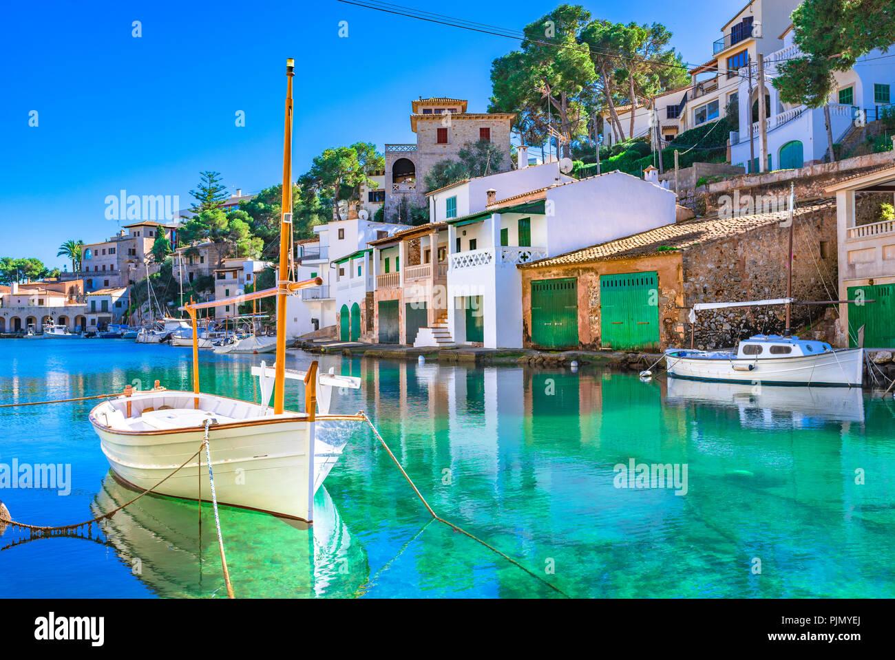 Beautiful view of Cala Figuera, old fishing harbor on Mallorca, Balearic Islands, Spain Mediterranean Sea Stock Photo