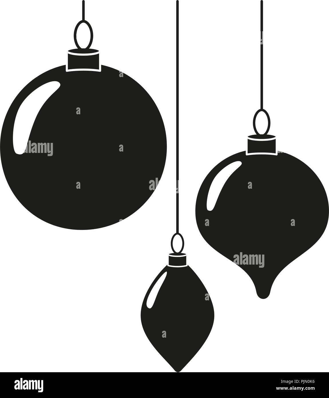 black white christmas tree decorations silhouette