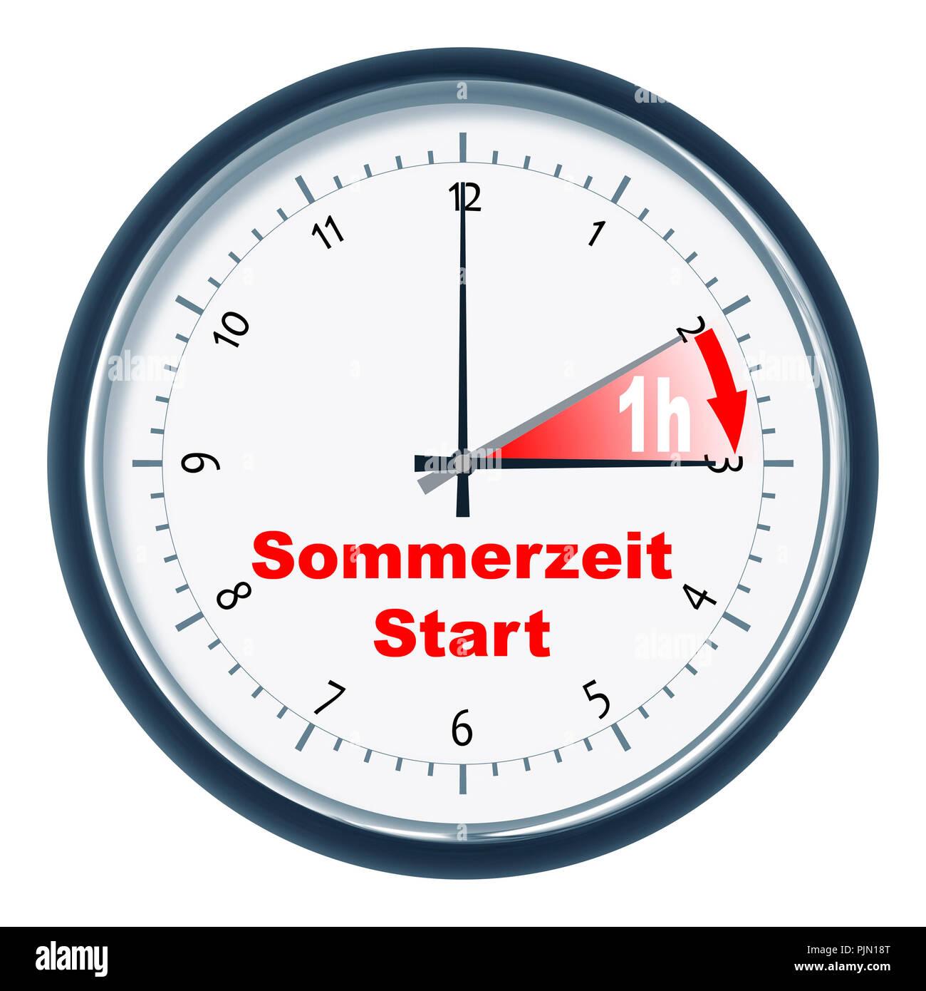 An image of a nice clock 'Sommerzeit Start' - Stock Image