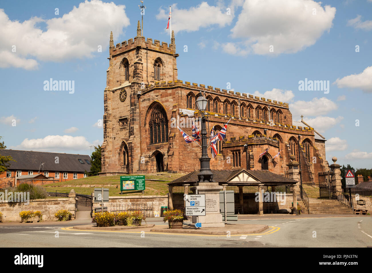 The parish church of St James the great in the Cheshire village of Audlem England UK - Stock Image