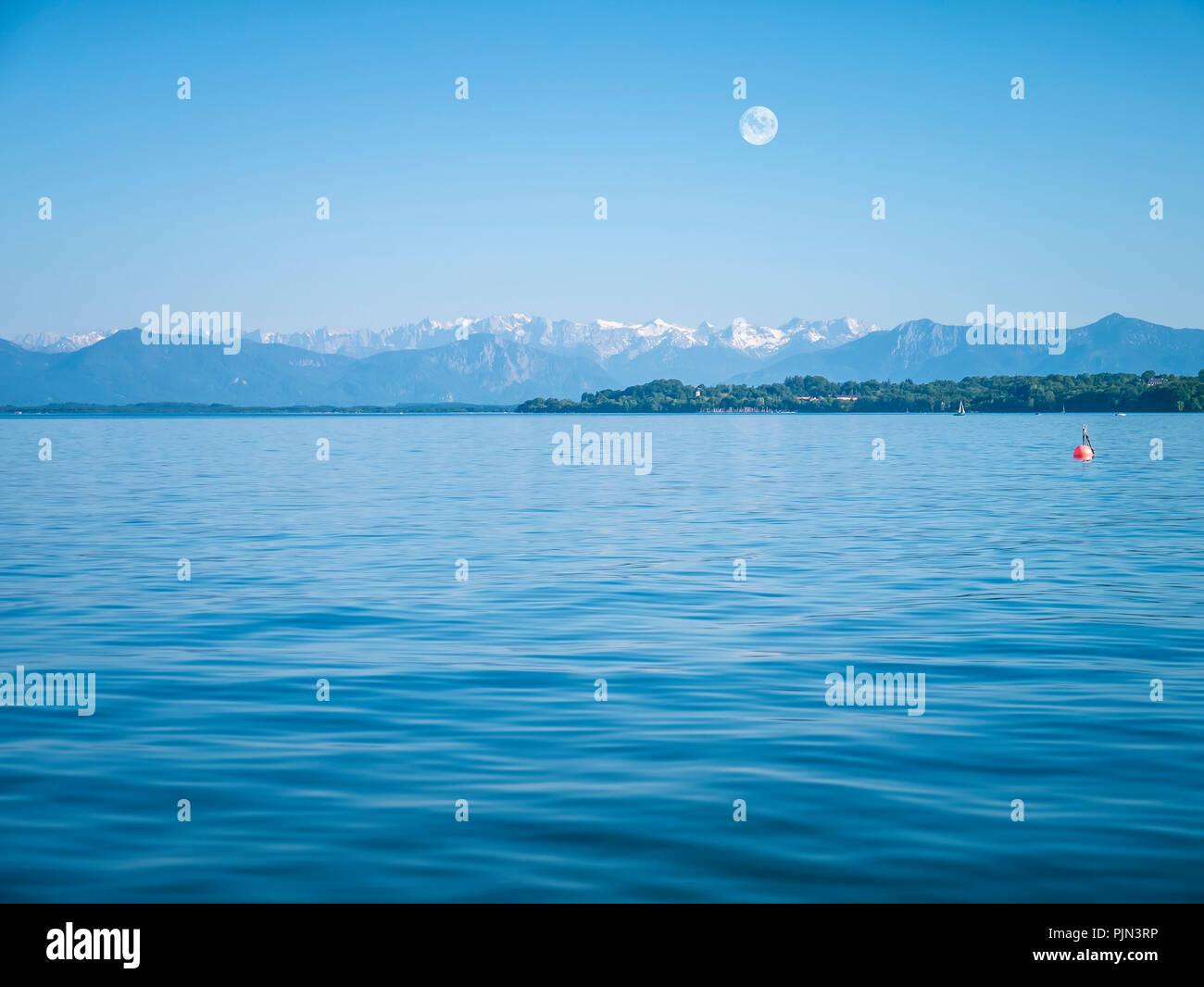 The nice Alps under the full moon with look at the Starnberger lake, Die schoenen Alpen unter dem Vollmond mit Blick auf den Starnberger See - Stock Image