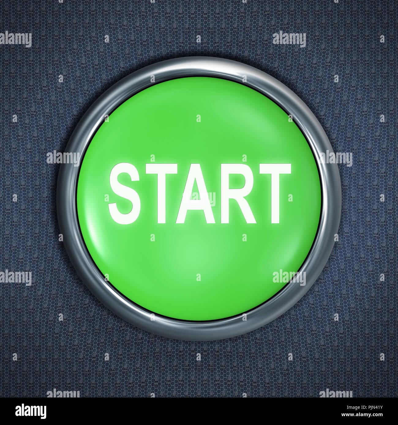 """""""A green button with the label: """"""""Start"""""""""""", Ein gruener Knopf mit der Aufschrift: """"Start"""" Stock Photo"""