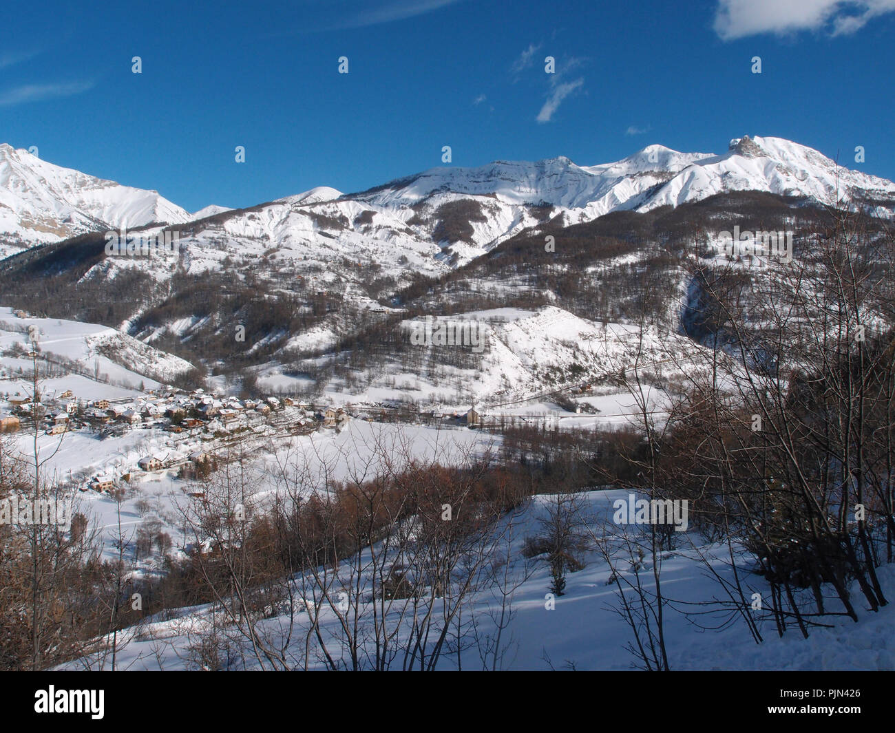 Ski resort of the Val d'Allos in the french Alpes - Stock Image