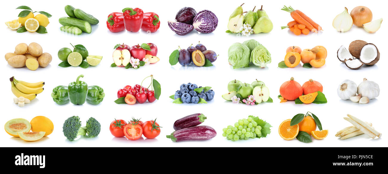 Fruits and vegetables collection isolated apples tomatoes oranges onion lemons colors fruit on a white background - Stock Image