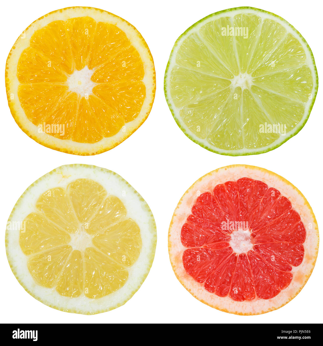 Collection of citrus fruits orange lemon slices sliced square isolated on a white background Stock Photo