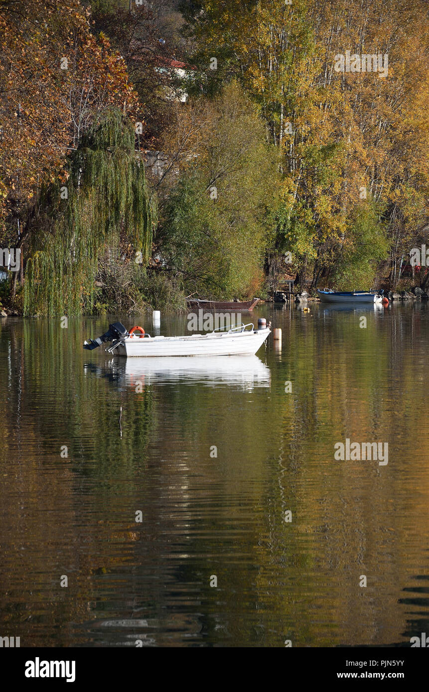 Trees in autumn colors reflected at the lake and a white wooden boot - Stock Image