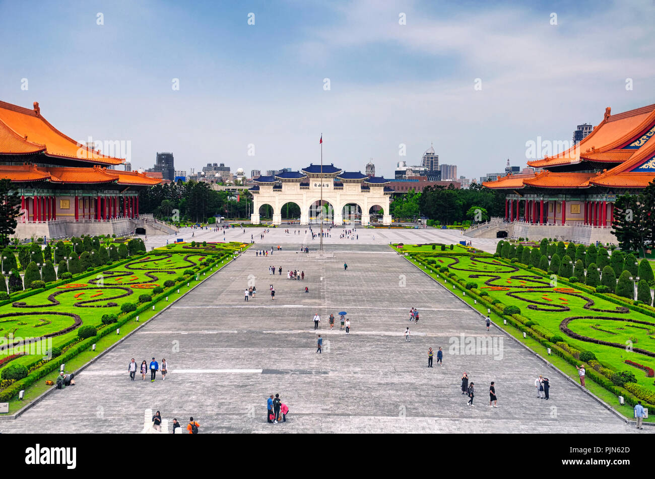 March 31, 2018. Taipei, Taiwan.  Tourists visiting liberty square near the national theater and concert halls in the city of Taipei, Taiwan. - Stock Image