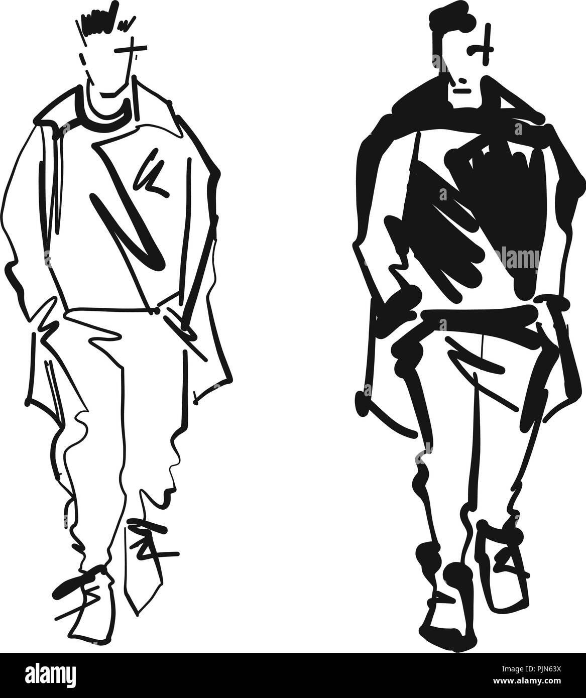 c0d512f7 Fashion man model silhouettes hand drawn. Monochrome vector. Male fashion  illustration .