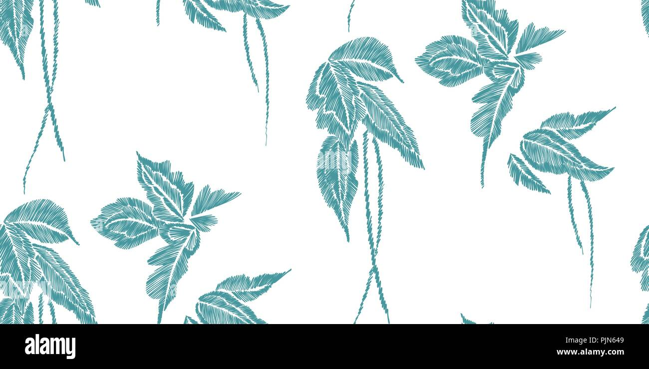 Tropical Leaves Seamless Background Pattern Vector Illustration Hand Drawn Embroidery Design Stock Vector Image Art Alamy The tropical leaves hand embroidery pattern is available as an instant download. alamy