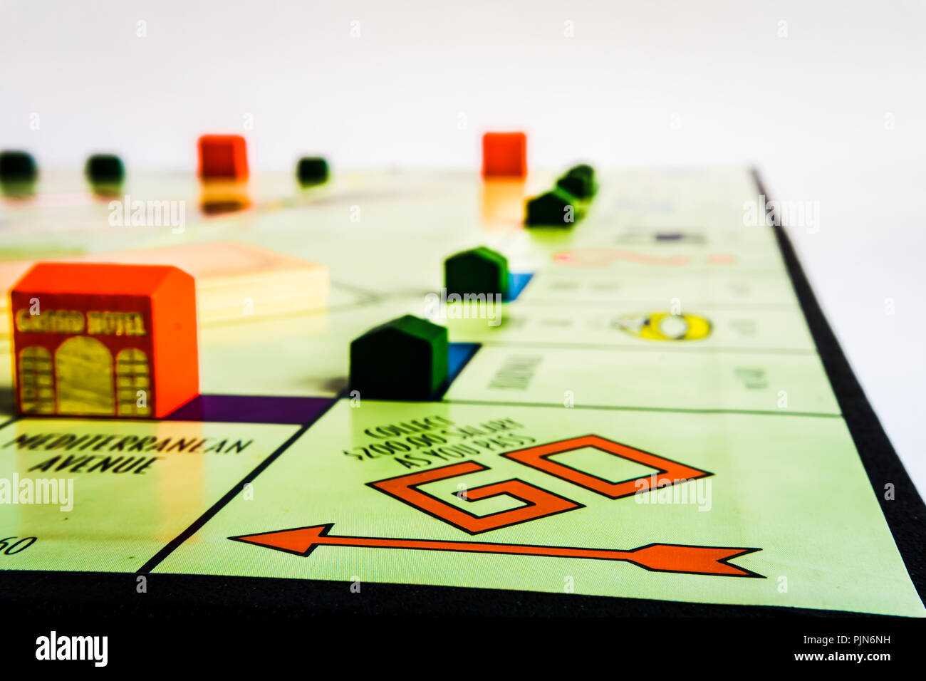 Monopoly Property Trading board game from Parker Brothers. The classic real estate trading game from Parker Brothers was first introduced to America i - Stock Image