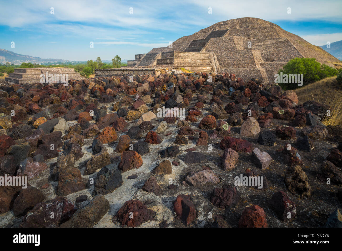 The Pyramid of the Moon is the second largest pyramid in modern-day San Juan Teotihuacán, Mexico, after the Pyramid of the Sun. - Stock Image