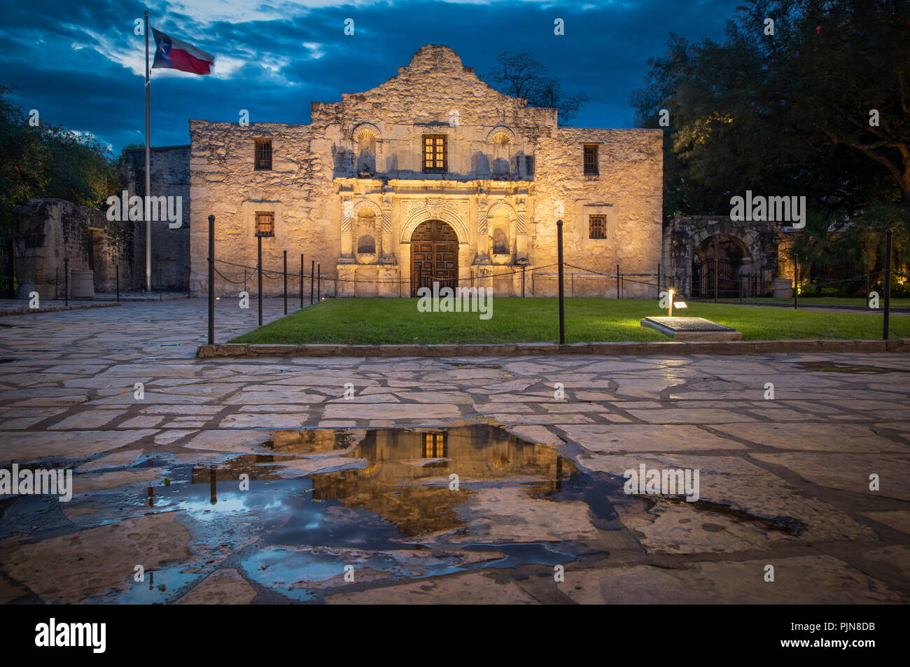 The Alamo is an old Spanish mission (like a church built by Catholic missionaries to minister to the natives) that is in what is now San Antonio, Texa - Stock Image