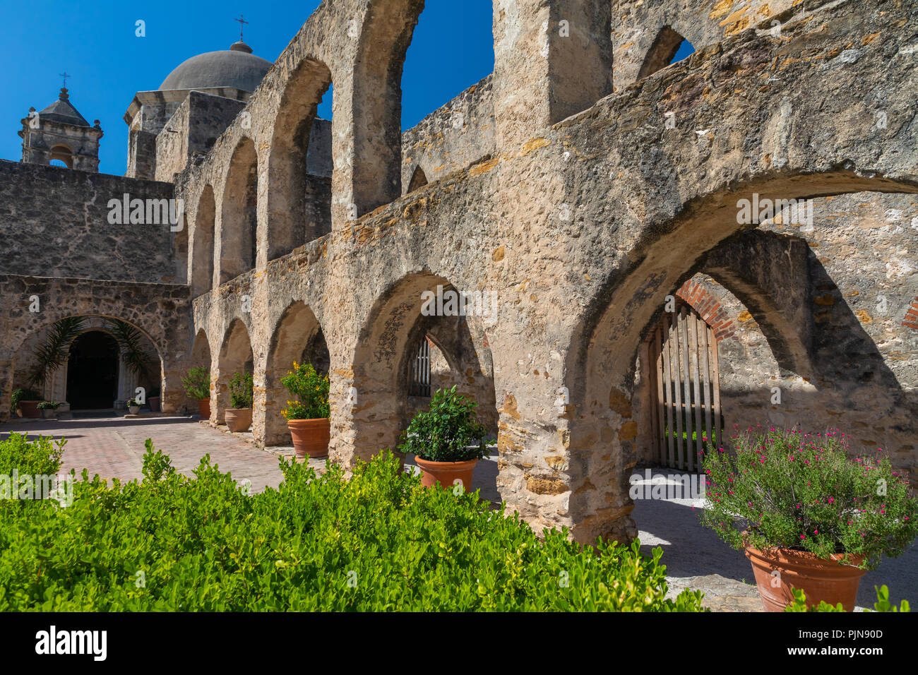 Mission San José y San Miguel de Aguayo is a historic Catholic mission in San Antonio, Texas, USA. The mission was named in part for the Marquis de Sa - Stock Image