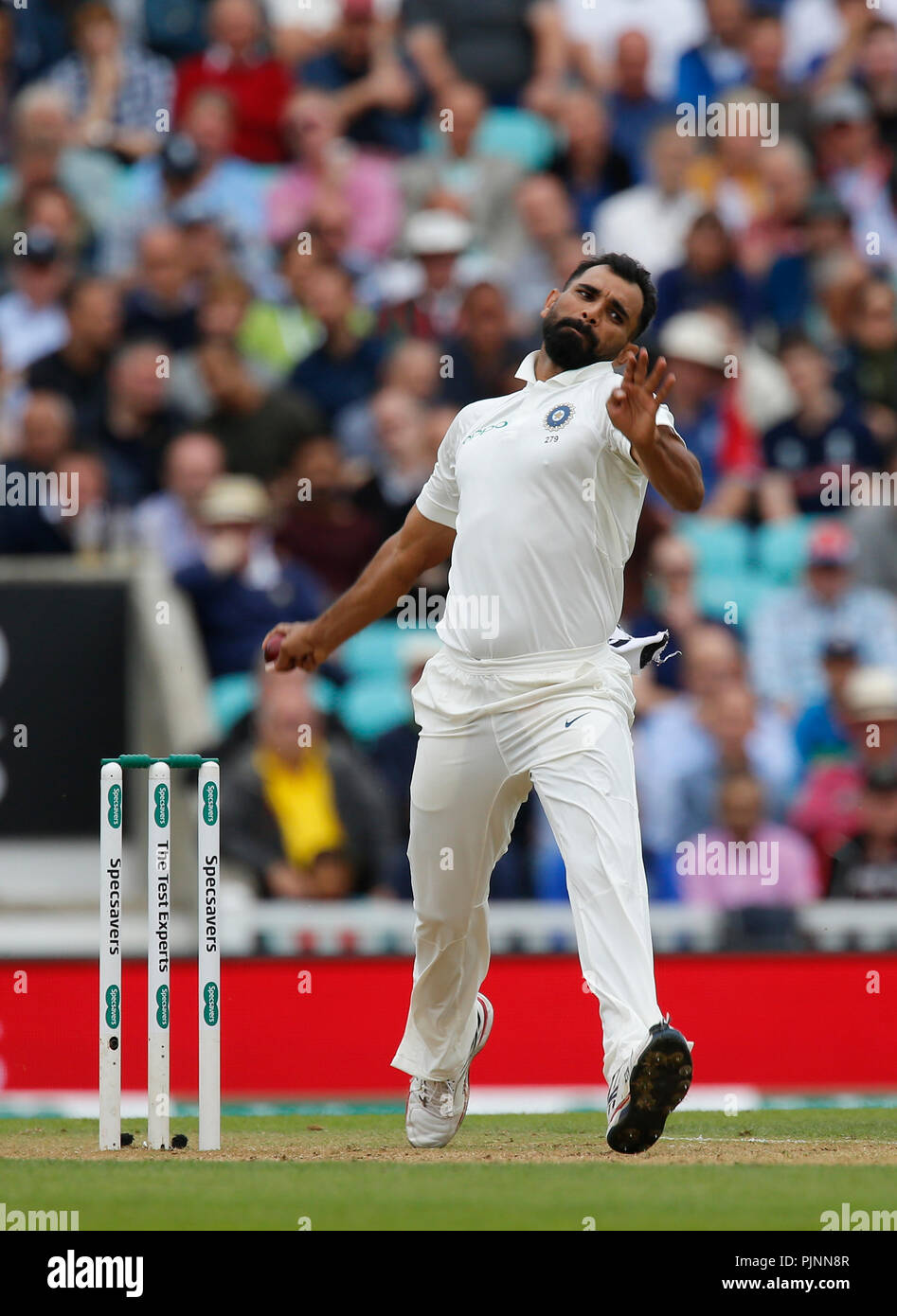 Kia Oval, London, UK. 8th Sep, 2018. Specsavers International Test Match Cricket, 5th test, day 2; Mohammed Shami of India Credit: Action Plus Sports/Alamy Live News Stock Photo